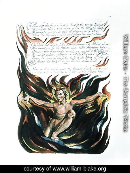 William Blake - America a Prophecy, 'Thus wept the Angel voice', the emergence of Orc