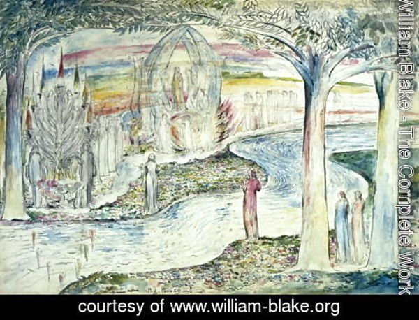 William Blake - Beatrice on the Car, Matilda and Dante