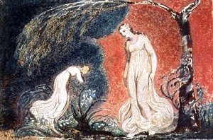 William Blake - Book of Thel- the Lily bowing before Thel, before going off 'to mind her numerous charge among the verdant grass', 1789