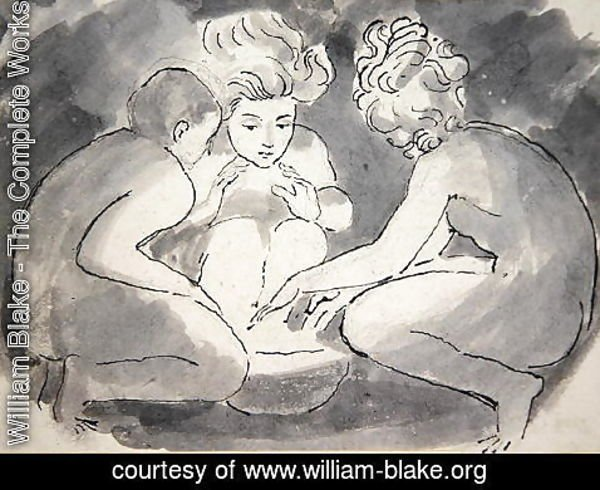 William Blake - Children round a Fire