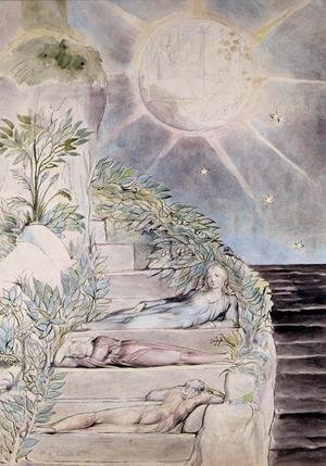 William Blake - Dante and Statius Sleeping, Virgil Watching