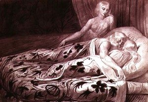 William Blake - Har and Heva sleeping, with Mnetha looking on, one of twelve illustrations from 'Tiriel', c.1789