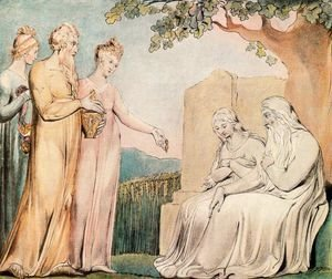 William Blake - Illustrations of the Book of Job- Job accepting Charity, 1825