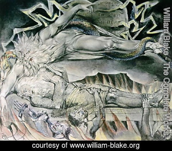 William Blake - Illustrations of the Book of Job- Job's Evil Dreams, showing Job's God, who has become Satan with cloven hoof and entwined by a serpent 1825