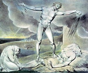 William Blake - Illustrations of the Book of Job- Satan smiting Job with Sore Boils, 1825