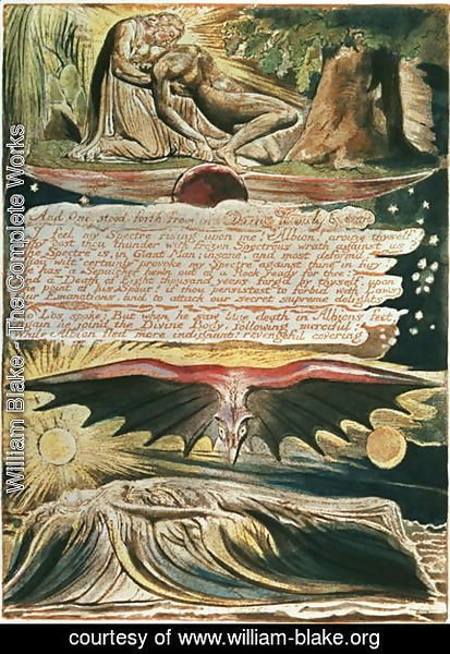 William Blake - Jerusalem The Emanation of the Giant Albion- 'And One stood forth', top to bottom, Los supported by Christ; Albion's burial in the Supulcher, 1804