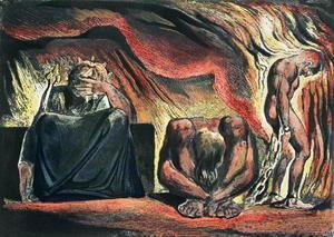 William Blake - Jerusalem The Emanation of the Giant Albion- plate 51 Vala, Hyle and Skofeld, showing the crowned Vala