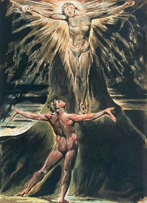 William Blake - Jerusalem The Emanation of the Giant Albion- plate 76 Albion before Christ crucified on the Tree of Knowledge and Good and Evil, 1804-20