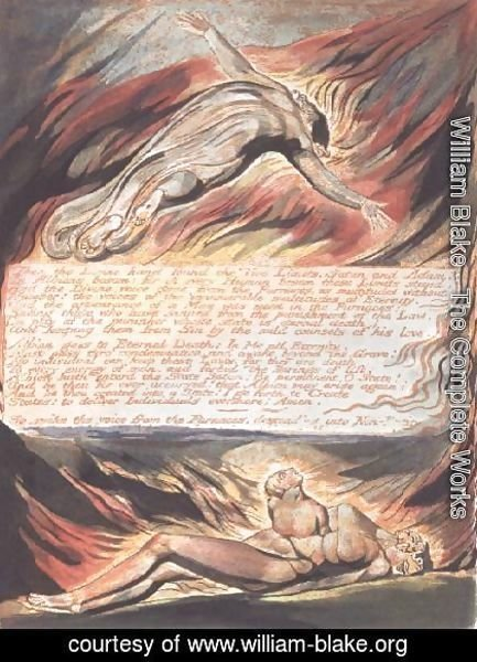 William Blake - Jerusalem The Emanation of the Giant- 'Then the Divine Hand' showing Christ soaring above Albion within whose bosom 'the Divine hand found the Two Limits, Satan and Adam', 1804