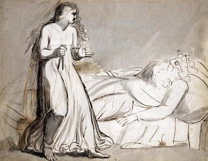 William Blake - Lady Macbeth approaching the murdered Duncan