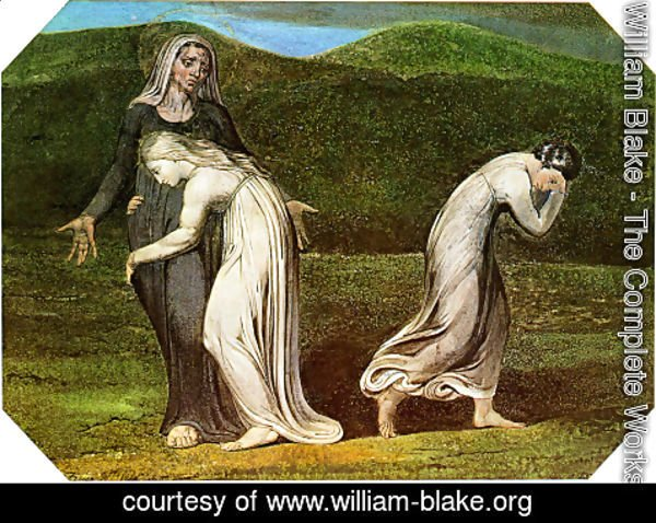 William Blake - Naomi entreating Ruth and Orpah to return to the land of Moab, from a series of 12 known as 'The Large Colour Prints', 1795