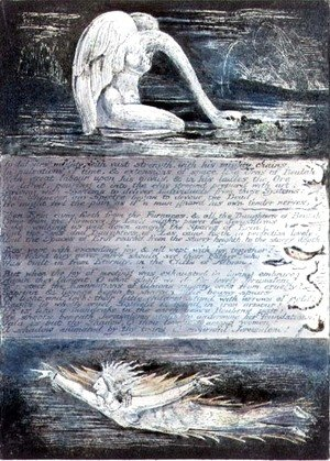 William Blake - Plate II, Jerusalem, c.1804-20. The daughters of Albion represented by swan-like and fish-like creatures