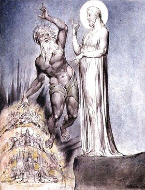 William Blake - Satan Tempts Christ with the Kingdoms of Earth from Milton's 'Paradise Regained', Book III lines 251-426, c.1816-18