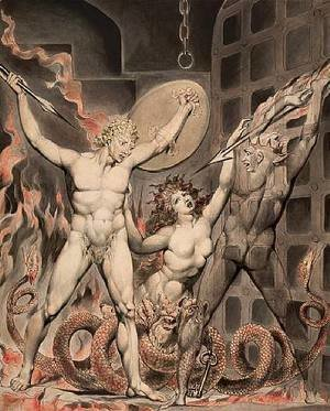 William Blake - Satan, Sin, and Death- Satan Comes to the Gates of Hell