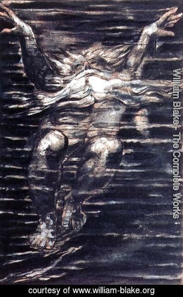 William Blake - The First Book of Urizen- Bearded man swimming through water, 1794