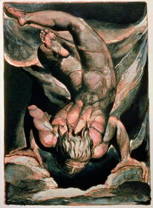 William Blake - The First Book of Urizen- Man floating upside down, 1794