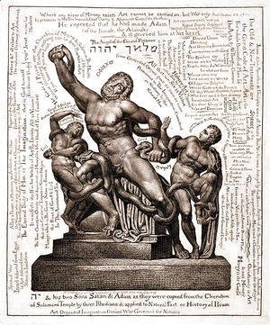 William Blake - The Laocoon as Jehovah with Satan and Adam, c.1820