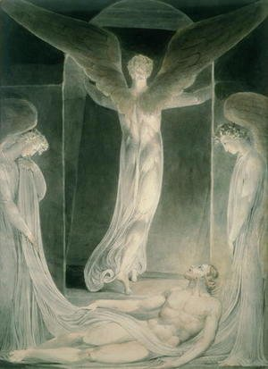 William Blake - The Resurrection- The Angels rolling away the Stone from the Sepulchre