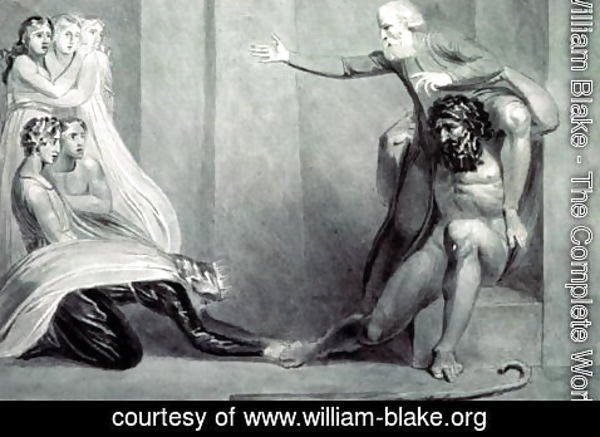 William Blake - Tiriel, borne back to the Palace on the Shoulders of his Brother Ijim, addressing his five Daughters