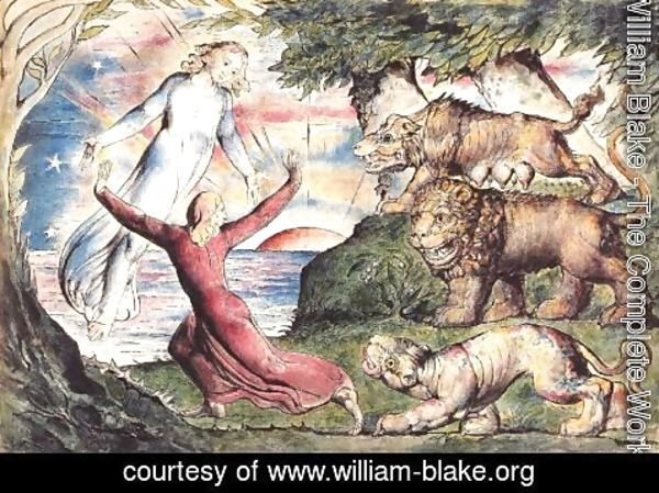 William Blake - Inferno, Canto I, 1-90 Dante running from three beasts is rescued by Virgil
