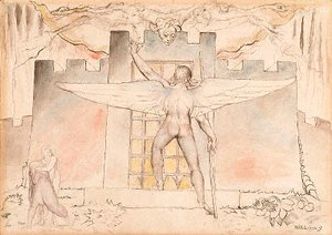 William Blake - Inferno, Canto IX, 44-64, The Angel an the Gate of Dis