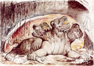 William Blake - Inferno, Canto VI, 12-35, Cerberus