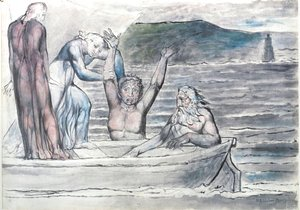 William Blake - Inferno, Canto VIII, 30-64, Virgil repelling Filippo Argenti from the Boat