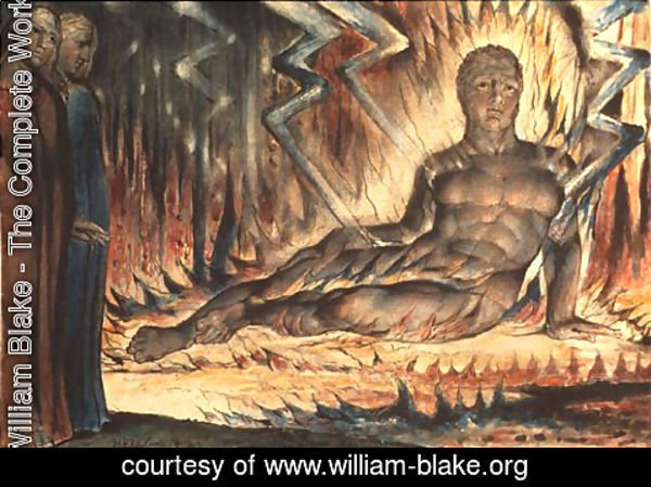 William Blake - Inferno, Canto XIV, 46-72, Capaneus the Blasphemer