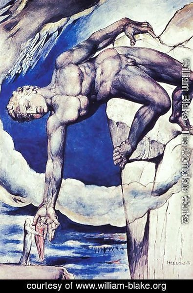 William Blake - Inferno, Canto XXXI, Antaeus sets down Dante and Virgil in the 9th circle