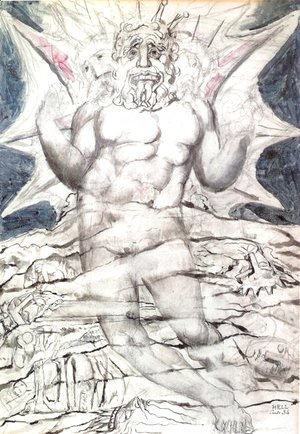 William Blake - Inferno, Canto XXXIV, 22-64, Lucifer at the last section of the nineth circle