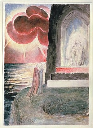 Purgatory, Canto 9, Dante and Virgil before the Angelic Guardian of the Gate of Purgatory