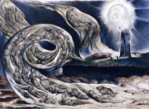 William Blake - The Lovers' Whirlwind, Francesca da Rimini and Paolo Malatesta 2