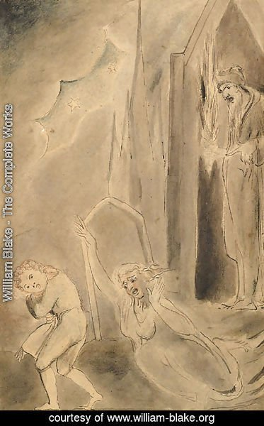 William Blake - Churchyard spectres frightening a schoolboy