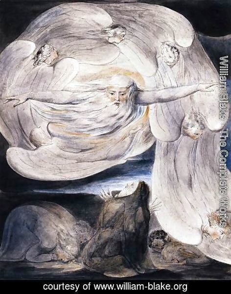 William Blake - Job Confessing His Presumption To God Who Answers From The Whirlwind 1803-05