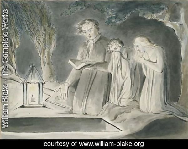 A Father And Two Children Beside An Open Grave At Night By Lantern Light