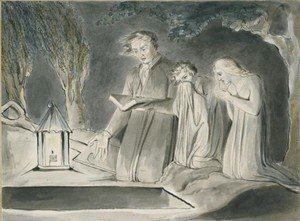 William Blake - A Father And Two Children Beside An Open Grave At Night By Lantern Light