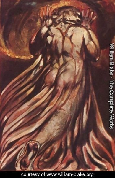 William Blake - A white haired man in a long, pale robe who flees from us with his hands raised
