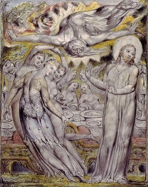 William Blake - Christ refusing the banquet offered by Satan