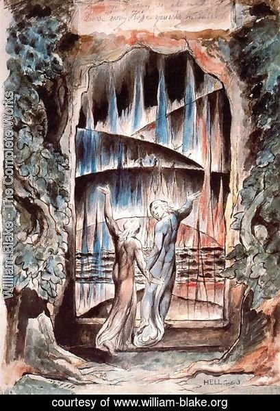 William Blake - Dante and Virgil at the Gates of Hell (Illustration to Dante's Inferno)